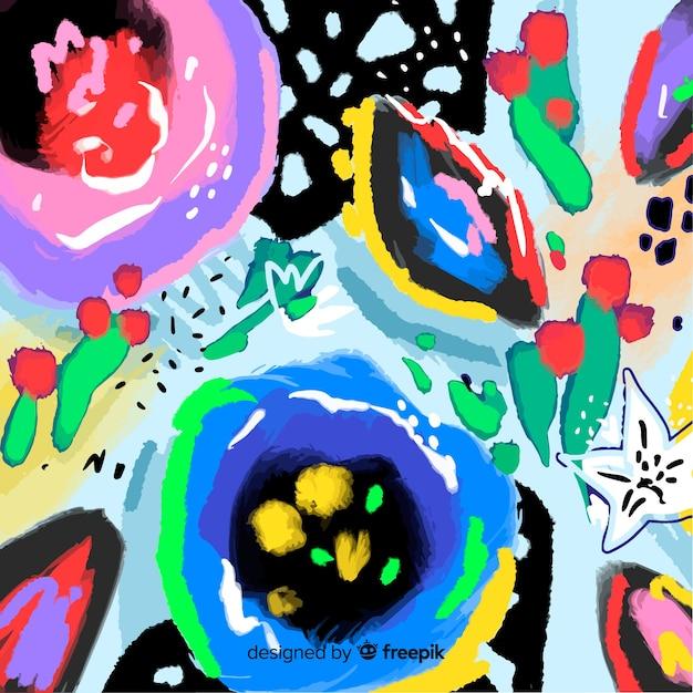Abstrait peint fond floral Vecteur gratuit