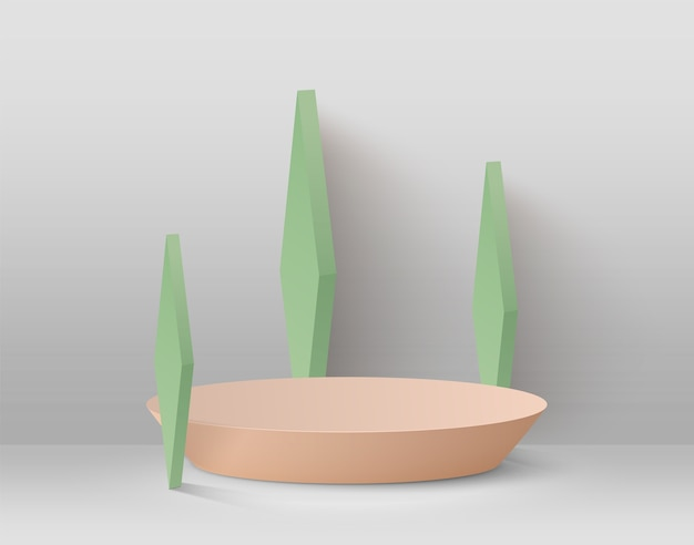 Abstrait Avec Podium Et Formes Géométriques Vertes Sur Fond Clair. Vecteur Premium