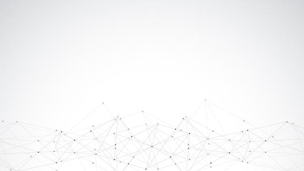Abstrait Polygonale Avec Points Et Lignes De Connexion. Connexion Au Réseau Mondial, Technologie Numérique Et Concept De Communication. Vecteur Premium