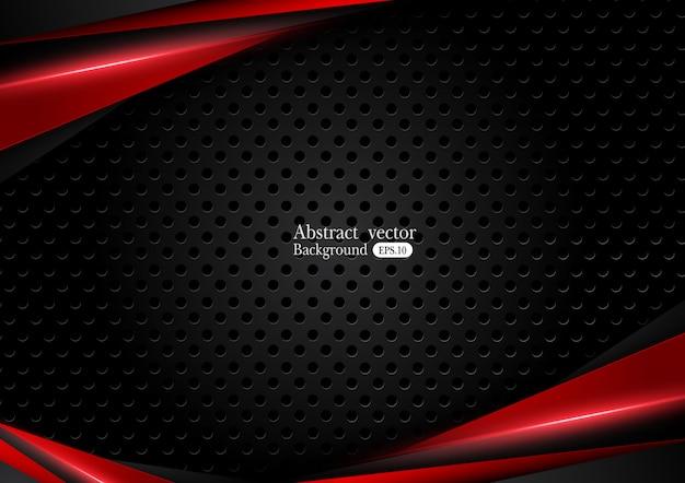 Abstrait rouge métallique noir avec des bandes de contraste Vecteur Premium