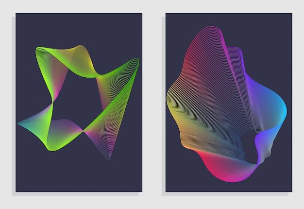 Abstrait sertie de vagues linéaires dégradé abstrait. Vecteur Premium