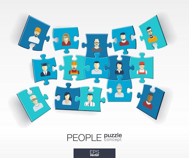 Abstrait Social Avec Des Puzzles De Couleur Connectés, Des Icônes Intégrées. Concept Infographique Avec Des éléments De Personnes, De Technologie, De Réseau Et De Médias En Perspective. Illustration Interactive Vecteur Premium