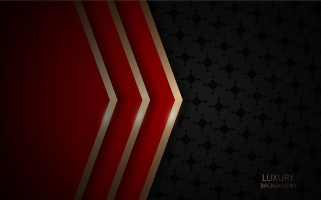 Abstrait sombre avec texture de couches de chevauchement rouge avec ligne dorée Vecteur Premium