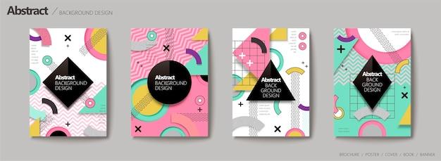 Abstrait, Style Memphis Géométrique Dans Des Tons Colorés Vecteur Premium