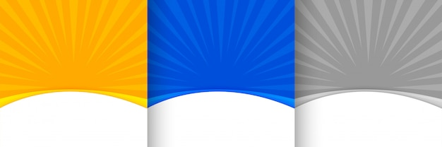 Abstrait Sunburst Dans L'ombre Jaune Bleu Et Gris Vecteur gratuit