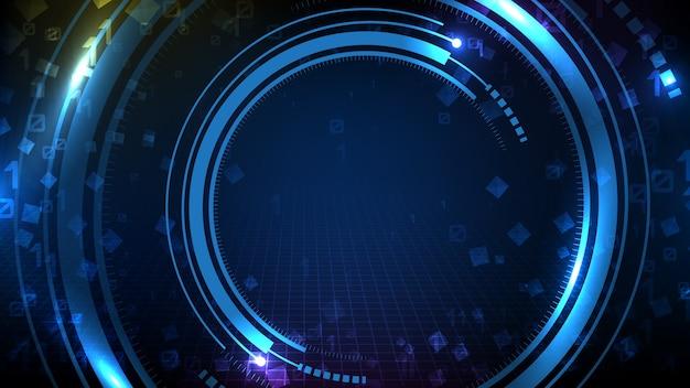 Abstrait De La Technologie Futuriste Bleue Autour De L'affichage De L'interface Utilisateur Hud Vecteur Premium