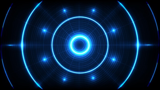 Abstrait De La Technologie Futuriste Bleue Interface D'affichage Hud Trou Rond Vecteur Premium