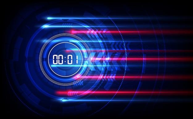 Abstrait technologie futuriste avec minuterie numérique Vecteur Premium