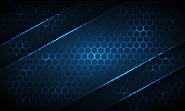 Abstrait De Technologie Hexagonale Bleu Foncé Avec Des Rayures Néon. L'énergie Lumineuse Bleu Clair Clignote Sous L'hexagone En Arrière-plan De La Technologie Sombre. Vecteur Premium