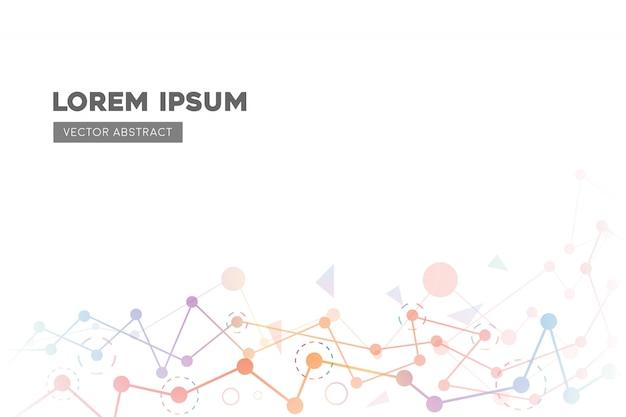Abstrait de technologie avec une ligne polygonale colorée Vecteur Premium