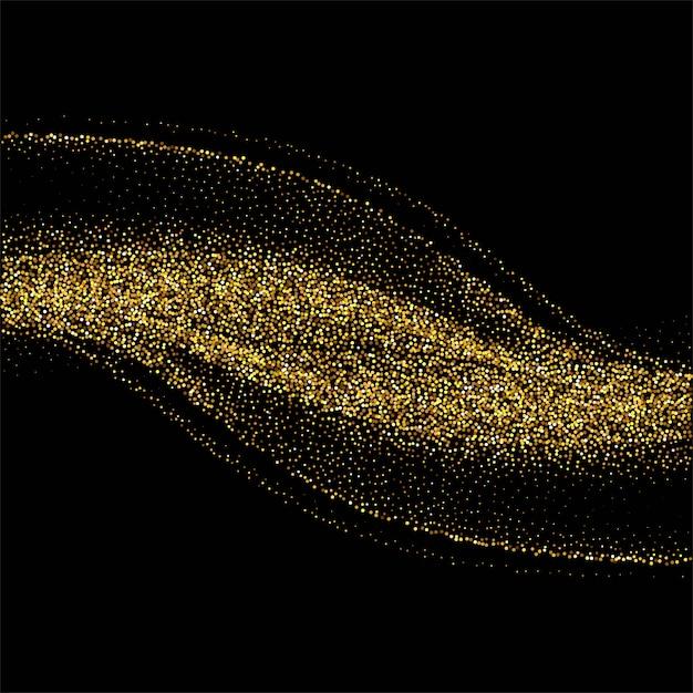 Abstrait avec une vague élégante de paillettes d'or sur fond noir Vecteur gratuit