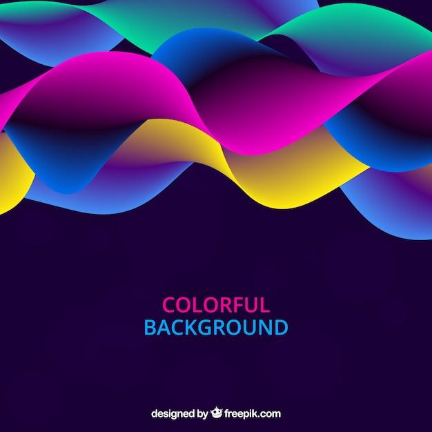 Abstrait avec des vagues colorées Vecteur gratuit