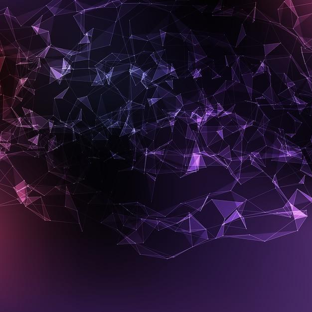 Abstrait Vecteur Fond Violet Violet. Des Points Connectés Chaotically Et Des Polygones Volant Dans L'espace. Débris Volants. Carte De Style Technologique Futuriste. Lignes, Points, Avions. Conception Futuriste. Vecteur gratuit