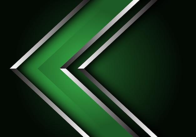 Abstrait Vert Argent Ligne Flèche Direction Luxe Fond Futuriste. Vecteur Premium