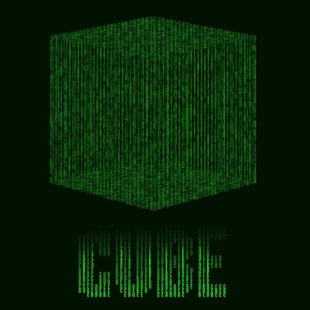 Abstrait vert futuriste avec cube en style de matrice Vecteur Premium