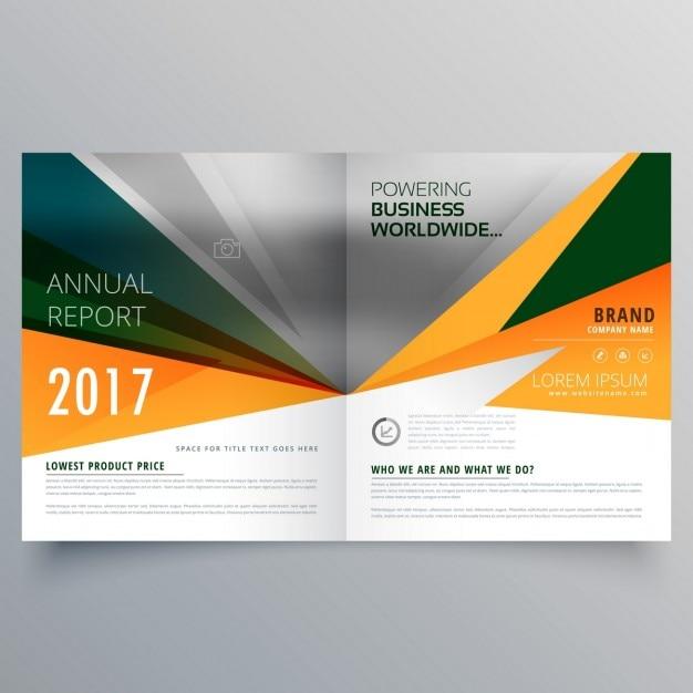 Abstraite forme bifold conception brochure d'affaires de modèle étonnant Vecteur gratuit