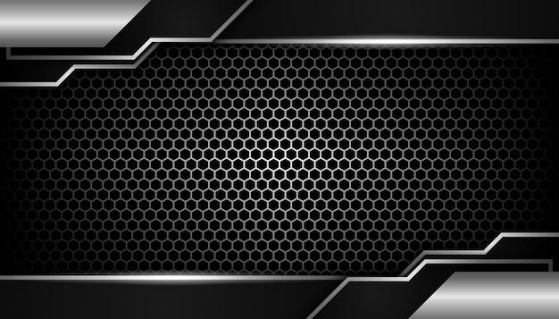 Abstraite Lumière Argentée Sur Fond Sombre De Luxe Hexagone Vecteur Premium