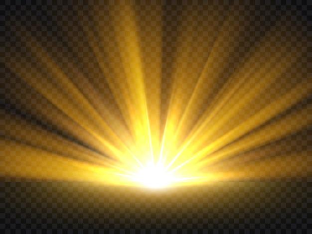 Abstraite Lumière Dorée. Illustration Vectorielle De éclat D'or éclaté Isolé Vecteur Premium