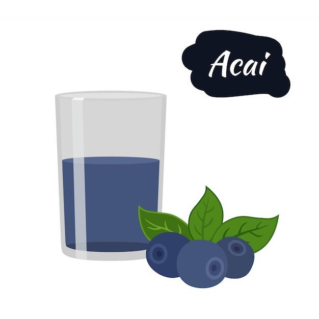Acai berry avec boisson en verre Vecteur Premium