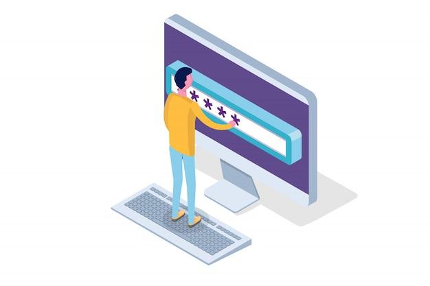 Accès Aux Données, Concept Isométrique De Mot De Passe. Formulaire De Connexion à L'écran. Illustration. Vecteur Premium