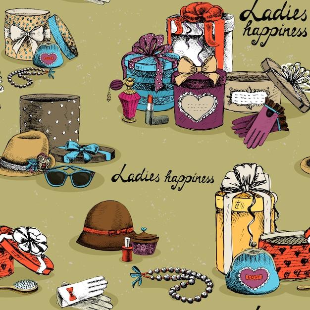 Accessoire femme sans couture avec les coffrets cadeaux Vecteur gratuit
