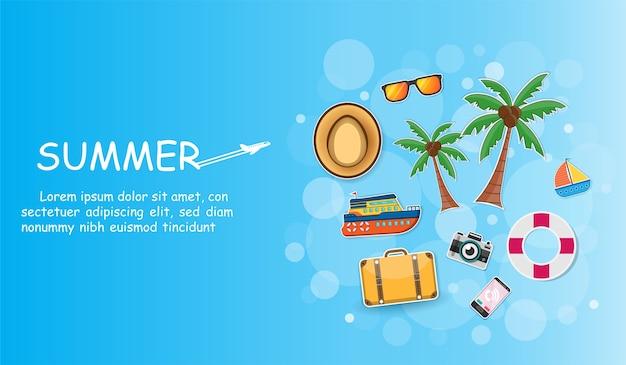 Accessoires bateau de voyage et cocotier Vecteur Premium