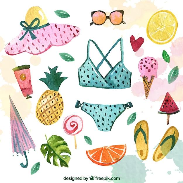 Accessoires De Collection De Bikini Et D'aquarelle Vecteur gratuit