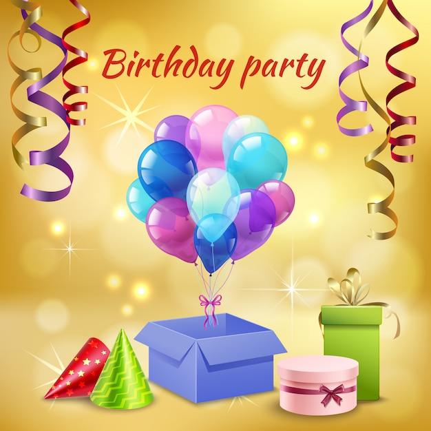 Accessoires de fête d'anniversaire réalistes Vecteur gratuit