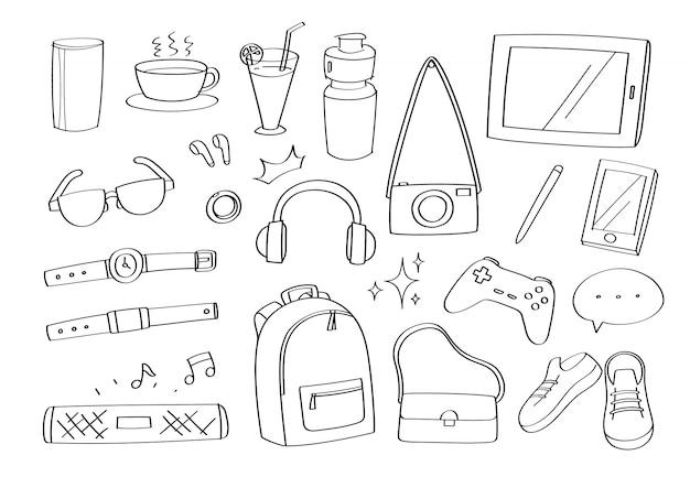 Accessoires De Gadgets De Style De Vie Mignon Doodle Icônes Et Mode De Dessin Animé Icônes. Vecteur Premium