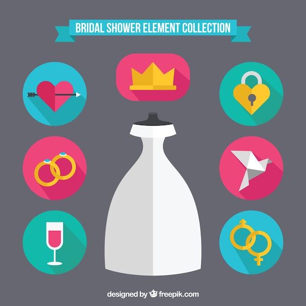 Accessoires de mariage de couleur dans design plat Vecteur gratuit