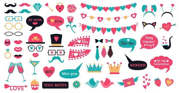 Accessoires De Photomaton Saint Valentin. Love Hearts Prop, Baiser Les Lèvres Et Les Formes De Coeur Banderoles Vecteur Premium