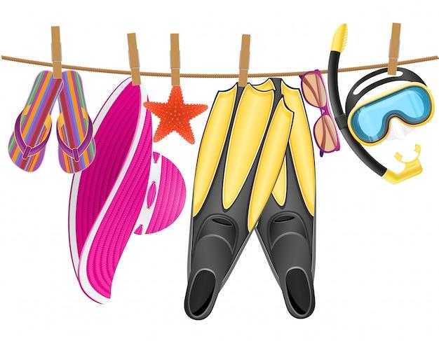 Accessoires de plage suspendus à une corde avec une pince à linge Vecteur Premium
