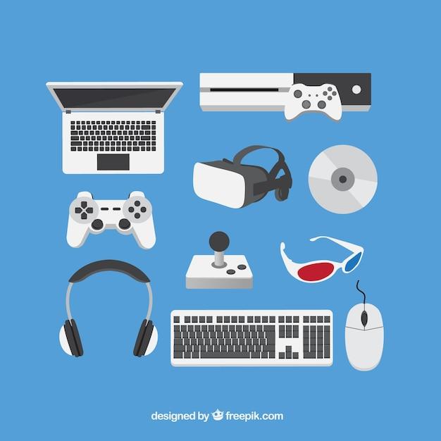 Accessoires Plats Pour Les Joueurs Vecteur gratuit