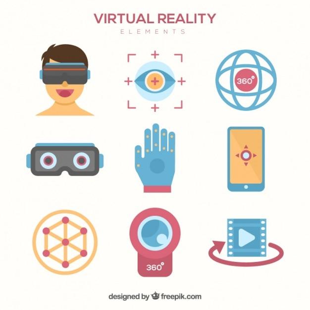 Accessoires de réalité virtuelle mis Vecteur gratuit