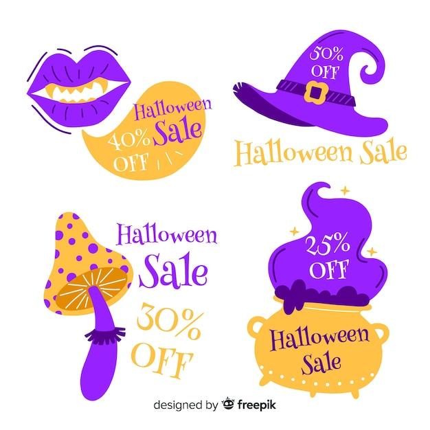 Accessoires de sorcière avec vente d'étiquettes halloween Vecteur gratuit