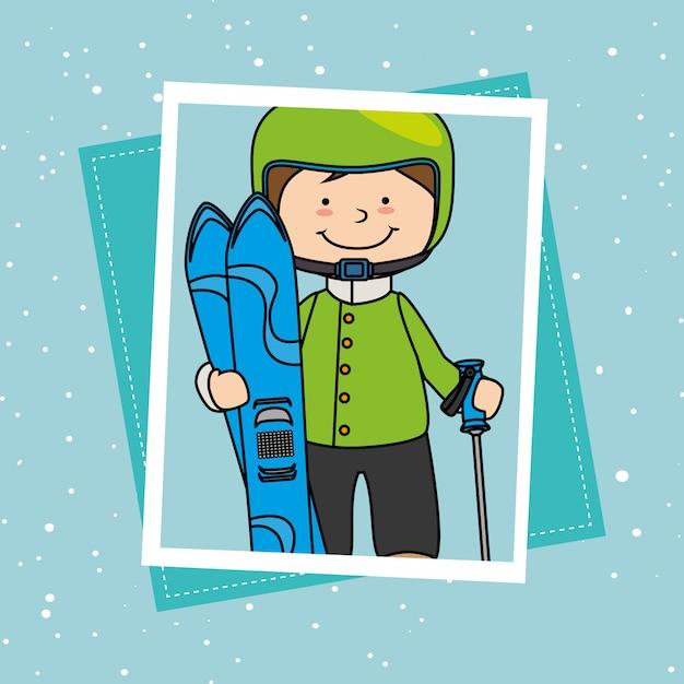 Accessoires de sport et vêtements d'hiver Vecteur gratuit