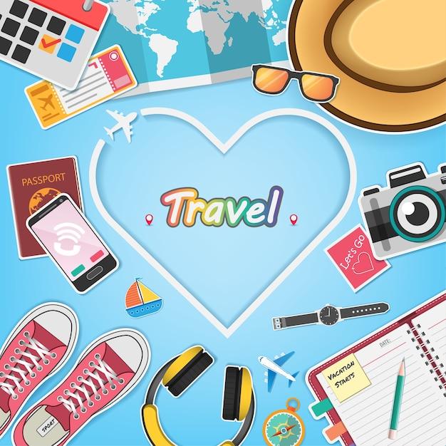 Les accessoires voyagent dans le monde entier. Vecteur Premium
