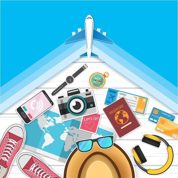 Les accessoires voyagent à travers le monde. Vecteur Premium