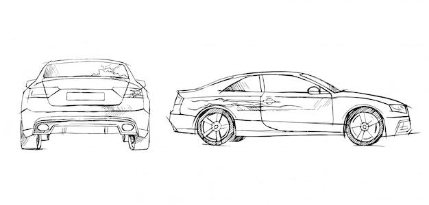 Accident, dégât de voiture dessiné à la main Vecteur Premium