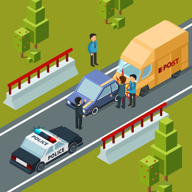 Accident sur la route de la ville. police voiture et catastrophes isométrique scène urbaine Vecteur Premium