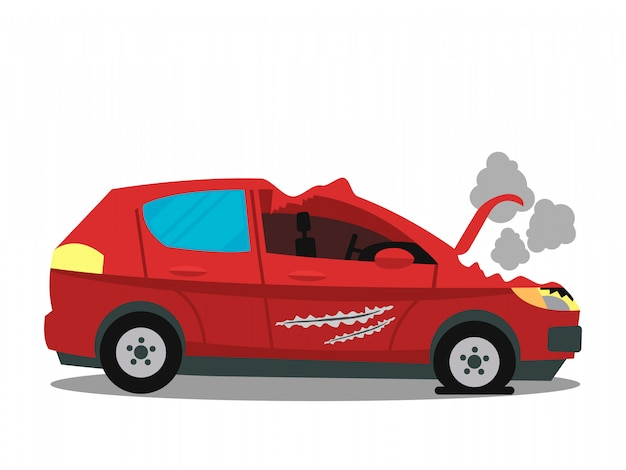 Accident de voiture, illustration de couleur plat d'accident de la route Vecteur Premium