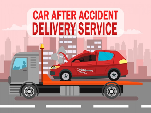 Accident de voiture, modèle de bannière web pour le service de livraison Vecteur Premium