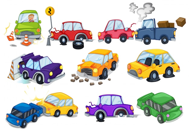 Accidents de voiture mis en blanc Vecteur gratuit