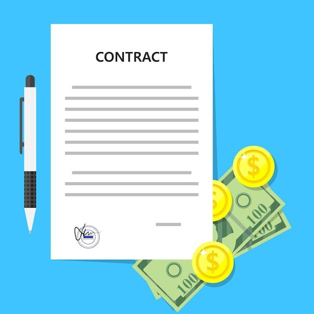 Accord Contractuel Accord Monétaire Protocole D'accord Sceau De Cachet De Document Juridique Vecteur Premium
