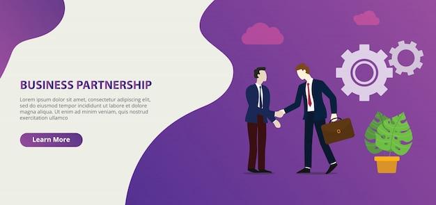 Accord de partenariat commercial dans le modèle de bannière de page de conception de site web Vecteur Premium