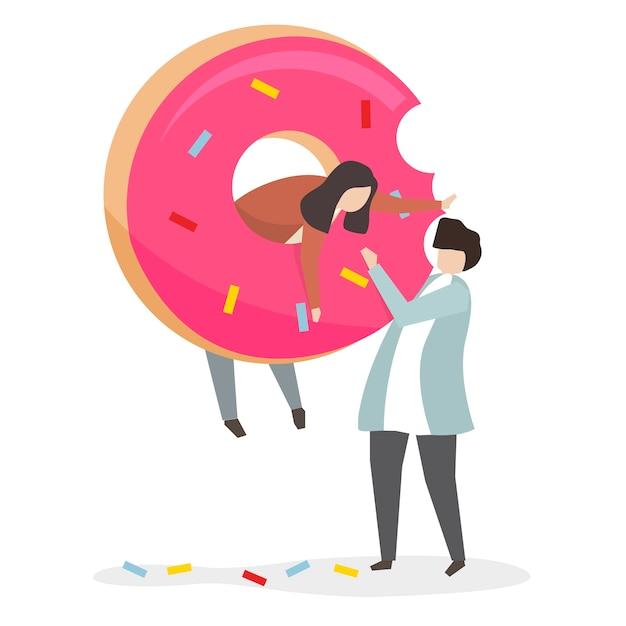 Accro aux bonbons et au sucre Vecteur gratuit