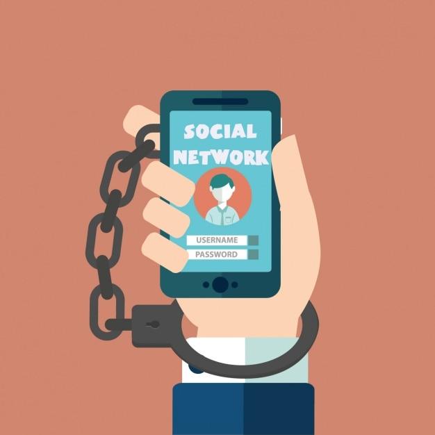 Accro aux réseaux sociaux Vecteur gratuit