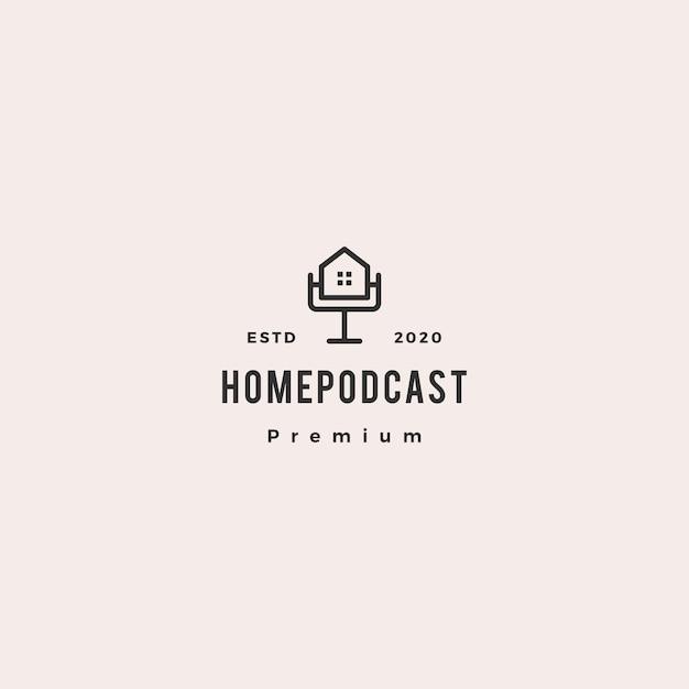 Accueil podcast logo icône vintage rétro hipster pour canal hypothèque maison vidéo vidéo vlog examen Vecteur Premium