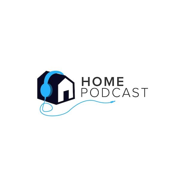 Accueil Podcast Logo Vecteur Premium