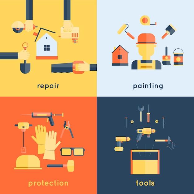 Accueil réparation peinture construction outils de mesure mesure illustration vectorielle de bande icônes plat composition composition design Vecteur gratuit